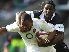 Paul Sackey of Barbarians tackles Steffon Armitage of England