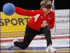 GB goalball player Michael Sharkey delivers the ball