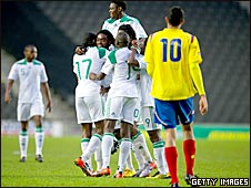 Nigeria celebrate scoring against Colombia
