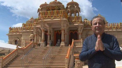 Ajay Jobanputra outside the temple