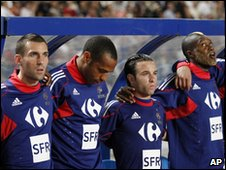 Anthony Reveillere, Thierry Henry, Mathieu Valbuena, and Djibril Cisse (left to right)