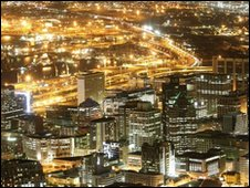 "Cape Town""s business district at dusk"