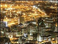 "Cape Town""s business district at dusk"