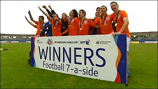 The Netherlands win gold after beating the Republic of Ireland 3-2 in the final of the first ever football tournament at the Paralympic World Cup in Manchester