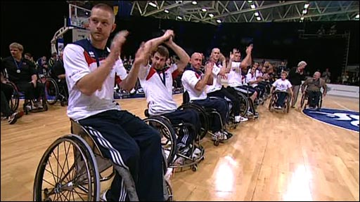 The Great Britain men's wheelchair basketball team win Paralympic World Cup gold after a 53-42 win over Canada in Manchester