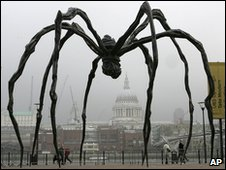 French-born artist Louise Bourgeois' sculpture of a giant spider outside Tate Modern in London in October 2007