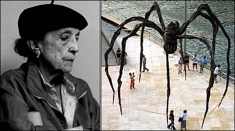 Louise Bourgeois with one of her famous spider sculptures