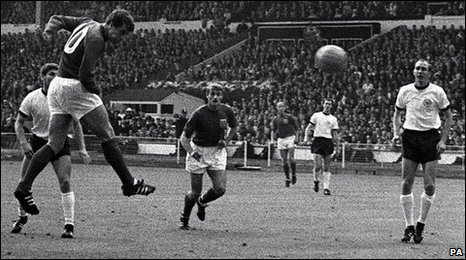 Geoff Hurst in action in the 1966 World Cup final