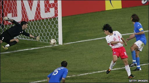 Hosts South Korea beat Italy 2-1 in the last 16 of the 2002 World Cup thanks to Ahn Jung Hwan's golden goal.
