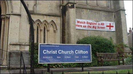 Christ Church in Bristol advertising England matches