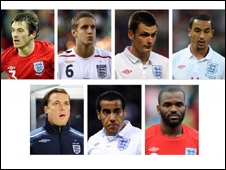 Clockwise from top left: Leighton Baines, Michael Dawson, Adam Johnson, Theo Walcott, Darren Bent, Tom Huddlestone and Scott Parker