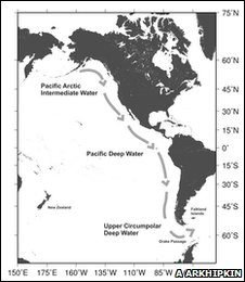 map showing route travelled by deep water species