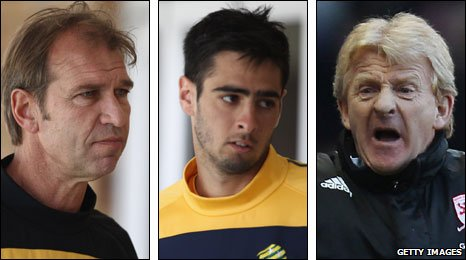 Australia coach Pim Verbeek, Boro defender Rhys Williams and manager Gordon Strachan