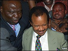 Zambia's former President Frederick Chiluba leaves Lusaka Magistrates Court after being cleared of corruption charges