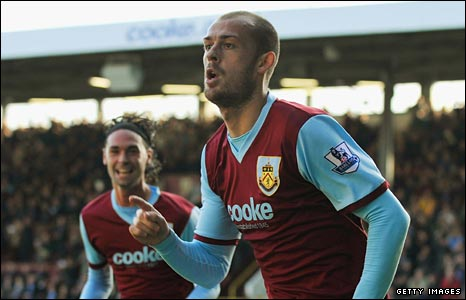 Steven Fletcher celebrates a goal for Burnley
