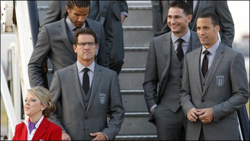 Fabio Capello, David James, Frank Lampard and Rio Ferdinand