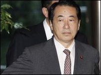 Naoto Kan, seen leaving the Prime Minister's residence on 2 June 2010