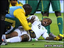 Ithumeleng Khune is injured playing for South Africa against Colombia