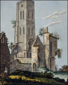The remains of Osney Abbey, which was built on account of Edith d'Oilly's curiosity about magpies, in about 1640