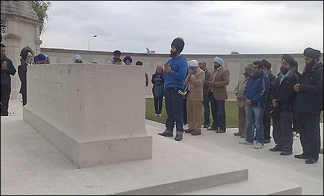 Sikhs offer prayer at a memorial for the Indian Army in the French town of Neuve-Chapelle
