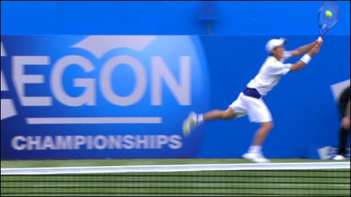Japan's Kei Nishikori pulls a special shot out of the bag during his defeat to France's Richard Gasquet in the ATP Aegon Championships at Queen's