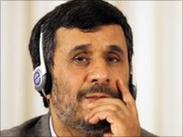 Iranian President Mahmoud Ahmadinejad at news conference in Istanbul on 8 June 2010