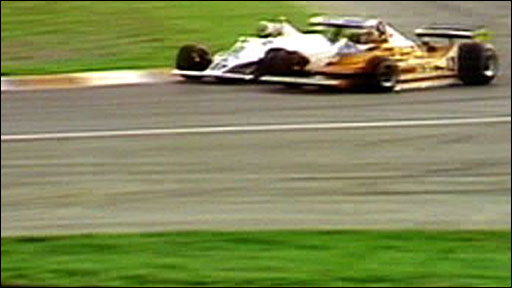Alan Jones gets past Gilles Villeneuve in Montreal