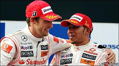 Jenson Button and Lewis Hamilton on the podium in Turkey