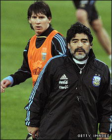 Argentina manager Diego Maradona with superstar Lionel Messi