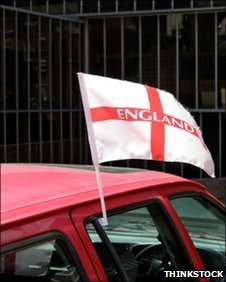 England flag on car window