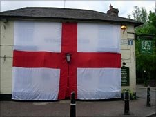 Willow Tree pub and its giant flag