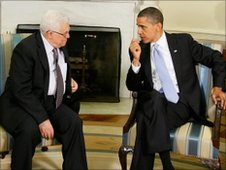 Mahmoud Abbas (l) Barack Obama (r)