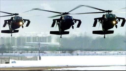 Three Black Hawk helicopters from the U.S. Army