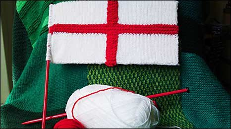 Knitted flag by Alison Murray