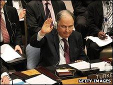 Turkish UN ambassador Ertugrul Apakan voting against the UN  Resolution against Iran, 9  June