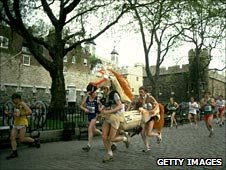 Runners dressed up as a horse in the London Marathon