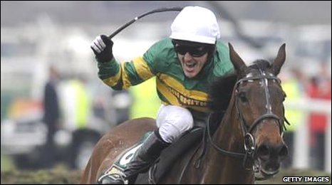 Tony McCoy celebrates his Grand National victory on Don't Push It
