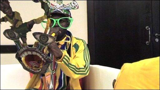 Sadaam Maake with his vuvuzela