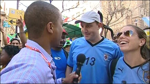 Uruguay fans speaking with Sean Fletcher
