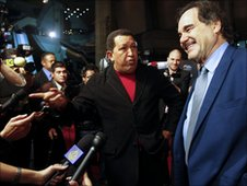 President Hugo Chavez and film director Oliver Stone