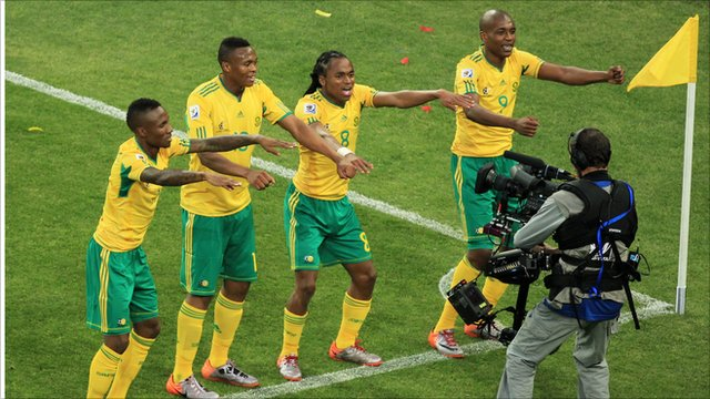 South Africa celebrate scoring the opening goal of World Cup 2010