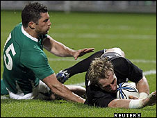 Rob Kearney fails to stop Jimmy Cowan scoring a try for New Zealand