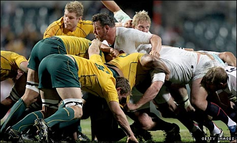Steve Thompson and Lewis Moody keep an eye on proceedings as England enjoy the better of another scrum