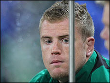 Jamie Heaslip sits on the Ireland bench after being sent-off