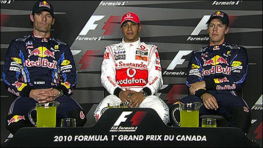 Mark Webber, Lewis Hamilton and Sebastian Vettel