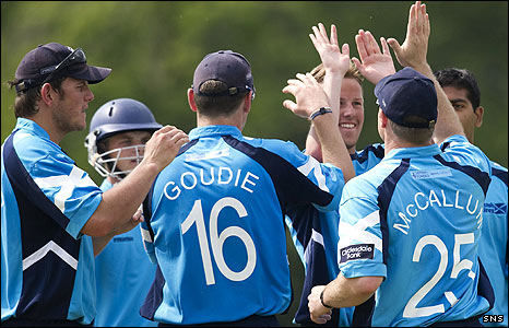 Scotland's cricketers celebrate a wicket in a recent game against Notts