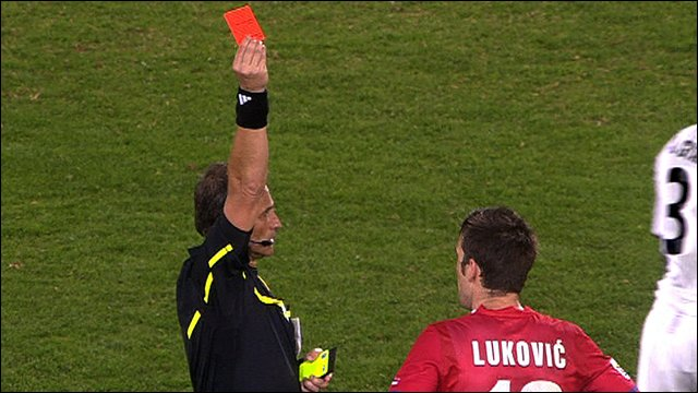 Serbia's Aleksandar Lukovic is sent off