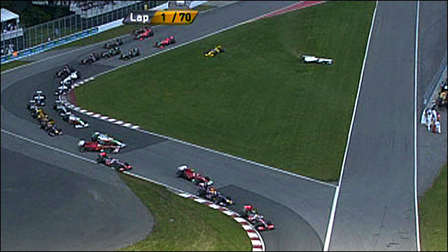 First corner chaos in Montreal GP