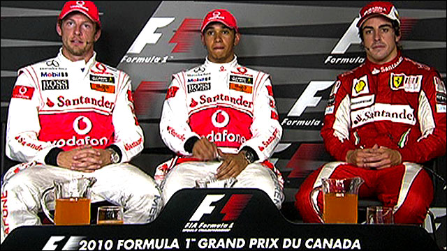 McLaren's Lewis Hamilton, Jenson Button and Ferrari's Fernando Alonso