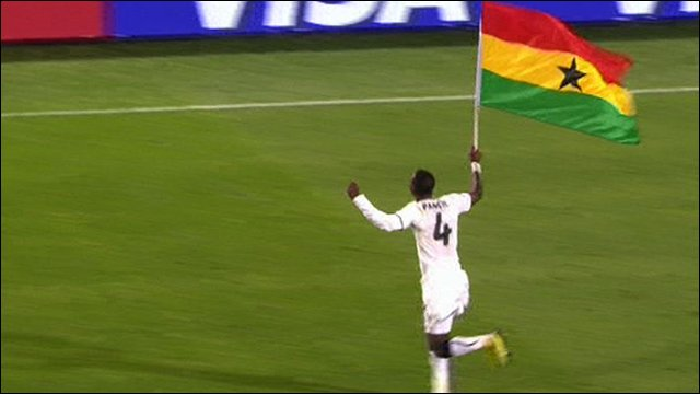 John Pantsil celebrates Ghana's win against Serbia